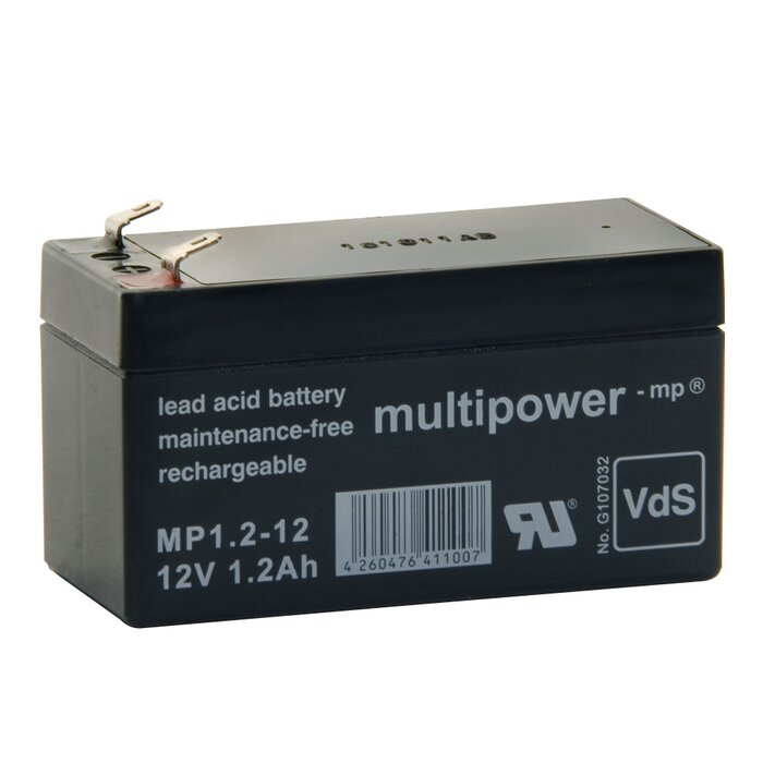 MULTIPOWER Standardtyp MP1.2-12 12V 1,2Ah AGM Versorgungsbatterie