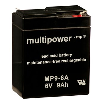 MULTIPOWER Standardtyp MP9-6A 6V 9Ah AGM Versorgungsbatterie